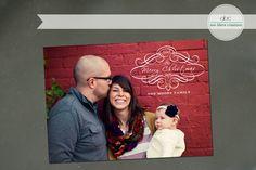 Custom Christmas Card Script Swirl by annblairecreations on Etsy, $15.00