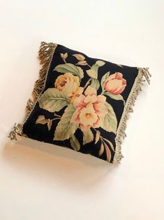 Excited to share this item from my #etsy shop: Handmade decorative black floral pillow, Vintage Ralph Lauren sheet, Charleston Black Floral