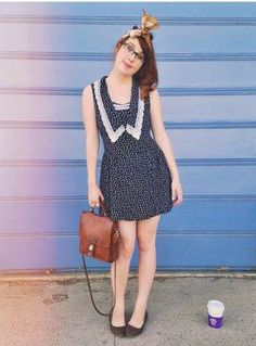 this look from the ModCloth Style Gallery! Cutest community ever. Quirky Girl, Girl Fashion, Fashion Outfits, Super Cute Dresses, Weekend Style, Indie Style, My Style, Fashion Gallery, Geek Chic