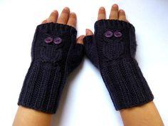 Fingerless Gloves Owls Child Size Dark Violett von frostpfoetchen