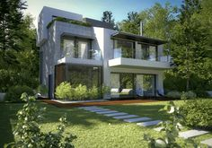 love a modern house surrounded by greens!