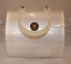 Wilardy Vintage Large White Frosted Lucite Handbag - circa 1950s | From a collection of rare vintage handbags and purses at https://www.1stdibs.com/fashion/handbags-purses-bags/