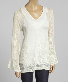Look at this Beige Embroidered V-Neck Top on #zulily today!