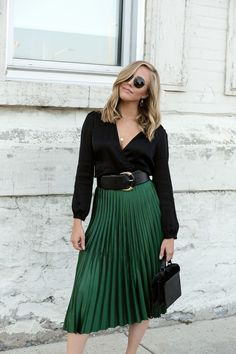 177be0d14c735 Emerald Green Pleated Zara Skirt   Black Wrap Blouse Green Blouse Outfit