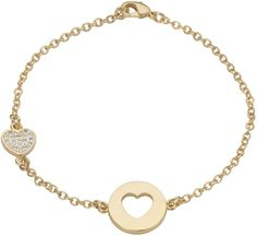 House of Fraser Aurora Flash Yellow gold plated cut out heart bracelet