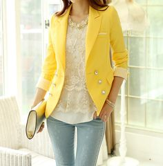 Stripe Tailored Collar Long Sleeves Polyester Ladylike Style Women's BlazerBlazer | RoseGal.com