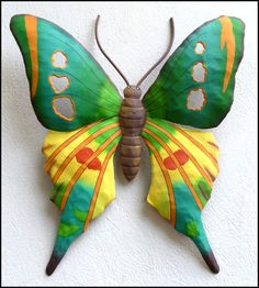 Hand Painted Metal Turquoise & Yellow Butterfly Wall Decor  - Hand Painted Metal Steel Drum Tropical Art from Haiti - Found at www.TropicAccents.com