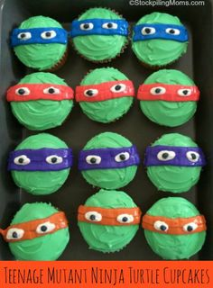 Teenage Mutant Ninja Turtles are back! These easy and fun cupcakes are perfect for birthday parties! Boy Birthday Cupcakes, Boy Birthday Parties, Cupcakes For Boys, Sons Birthday, Fun Cupcakes, Cupcake Cakes, Cupcake Frosting, Birthday Ideas, Ninja Turtle Cupcakes