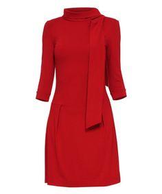 Another great find on #zulily! Red Bow-Neck Drop-Waist Dress #zulilyfinds