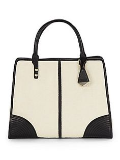Sienna Leather-Trimmed Straw Tote Bag