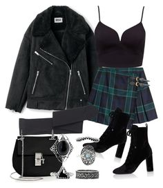 A fashion look from September 2017 featuring plunging-neckline top, tall jackets and tartan skirt. Browse and shop related looks. Bad Girl Outfits, Teen Fashion Outfits, Teenager Outfits, Edgy Outfits, Cute Casual Outfits, Grunge Outfits, Outfits For Teens, Pretty Outfits, Aesthetic Grunge Outfit