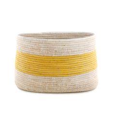 Handmade Woven African Knitting Basket - Yellow Stripe