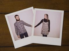 they are holding hands while wearing plaid in polaroids.