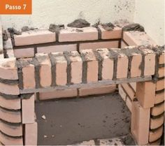 CONSTRUTORA SOUSA: Churrasqueira de tijolos, em 22 passos. Barbecue, Wood, Crafts, Diy, Masonry Bbq, Bricks, Cookers, Ovens, Cement