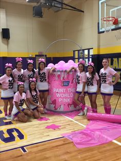 Pink out themed Football Cheer, Football Signs, Football Spirit, Football Posters, School Spirit Posters, Cheer Posters, Cheer Games, Cheer Stunts, Cheer Coaches