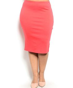 Coral Pencil Skirt - Plus by Buy in America #zulily #zulilyfinds