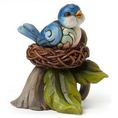 Jim Shore Mini Bluebird in Nest Figurine,