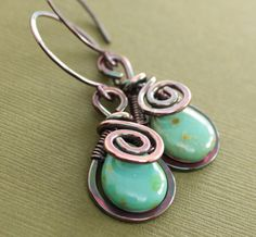 Artisan+copper+earrings+with+swirly+drop+and+wrapped+by+IngoDesign,+$32.00