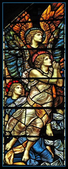 Angels in adoration | Detail from the Ascension window in St Mary's, Buckland.