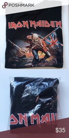 Iron Maiden Heavy Metal T-Shirt Size Small Exactly what the title says- Vintage Iron Maiden  heavy metal t-shirt, size Men's small. Why buy a reproduction when you can have the real deal? Minor fading from normal use. Tops Tees - Short Sleeve