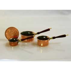 3 Saucepans with Rosewood Handles by J Getzan Saucepans, Dollhouses, Cookware, Dollhouse Miniatures, Artisan, Copper, Handle, Dolls, Glass