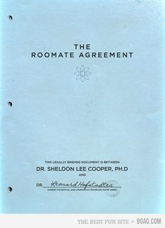 The Roommate Agreement by Sheldon Cooper from The Big Bang Theory.