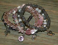 Grijs/rose armbanden