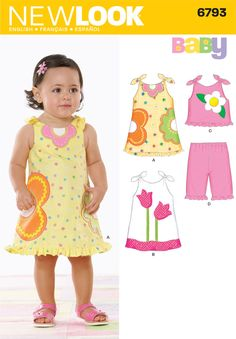 Babies Dress, Top and Pants Sewing Pattern 6793 New Look