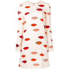 Victoria Victoria Beckham scattered lips patch applique dress ($940) ❤ liked on Polyvore featuring dresses, multicolor, multi-color dress, applique dress, multi print dress, nude dress and multicolored dress