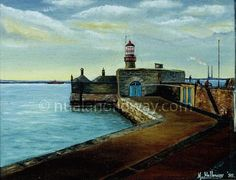 """Dun Laoghaire Lighthouse"" by Nuala Holloway - Oil on Board Irish Art, Dublin, Lighthouse, Seaside, Oil, Board, Bell Rock Lighthouse, Light House, Beach"