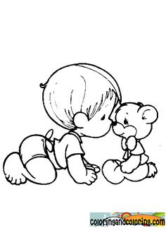 color page of child with bear | precious moments baby coloring pages : Coloring and coloring