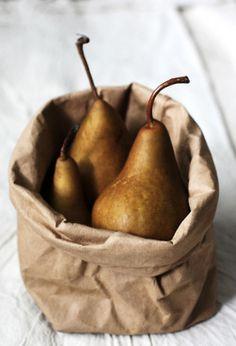 pears in brown paper bag