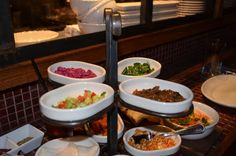 Salatim (Top layer) Cucumber Salad; Beets with Tehina; Taboulleh; Twice Cooked Eggplant