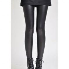 Stylish Elastic Faux Leather Black Nine-Length Leggings For Women