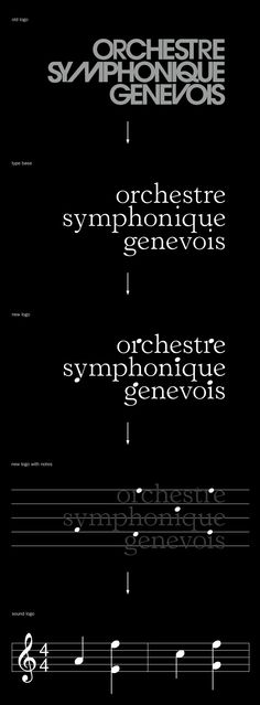 Founded in 1977, Orchestre Symphonique Genevois is an internationally recognized semi-professional orchestra in Geneva. KW43 created a new identity featuring a modification of Horley Old Style in which some letter elements are replaced with those of musical notation. The custom font converts texts into meoldies that were played on the website and an interactive app. Staves also served as the grid structure for posters.