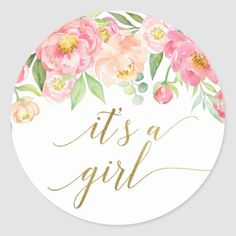 Peach and Pink Peony Flowers It& A Girl Favor Classic Round Sticker Baby Stickers, Round Stickers, Custom Stickers, Baby Shower Flowers, Floral Baby Shower, Baby Shower Wrapping, White Wrapping Paper, Spring Girl, Baby Shower Party Supplies