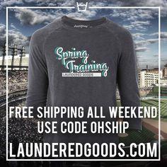 Last weekend to grab your Spring Training baseball tshirt! www.launderedgoods.com #launderedlife #tee #springtraining #baseball #softball #tshirt #raglan
