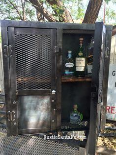 Industrial steel locking liquor cabinet, industrial nightstand ...