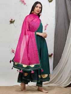 Green Gota Embroidered Cotton Flared Kurta with Pants and Pink Dupatta - Set of 3 Indian Fashion Dresses, Dress Indian Style, Pakistani Dresses, Indian Outfits, Fashion Outfits, Trendy Outfits, Anarkali Dress, Saris, Green Suit Women