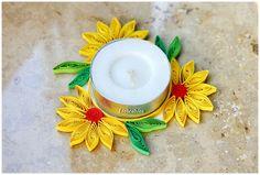 Quilling Teelichtuntersetzer Sonnenblumen von Liebeabies auf DaWanda.com