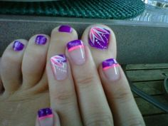 purple with pink and white highlights flower manicure pedicure =========================== nail art Get Nails, Fancy Nails, Love Nails, How To Do Nails, Pretty Nails, Hair And Nails, Pretty Toes, Prom Nails, Toenail Art Designs