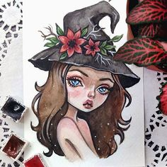 Little witch. Commission for @legendarylynn By the way, she also draws, so follow her #art #artstagram #witch #postcard #watercolorart #blackfury #illustration