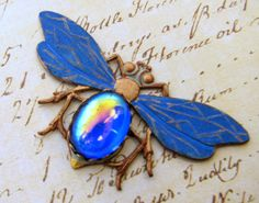 Another July 2015 challenge piece, Blue Busy Bee pendant. Find me at www.VRBBoutique.etsy.com.