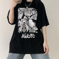 Naruto cos T-shirt Couple Outfits, Edgy Outfits, Grunge Outfits, Fashion Outfits, Modest Fashion, Aesthetic T Shirts, Aesthetic Clothes, Naruto Shirts, Naruto Clothing