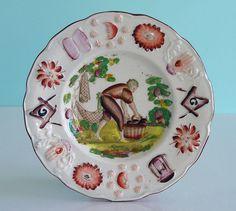 Staffordshire Child's Plate ~ MASONIC SYMBOLS ~ Fisherman Transferware c1830 NR