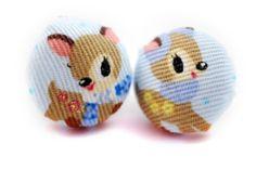 Kawaii-Deer-Fabric-Button-Earrings-Cute-Kawaii ebay amy*lilley*accessories