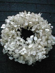 Money Plant Wreath Ghirlanda con lunaria (monete del Papa ) Bella ed etereaMoney Plant Wreath (going to do this)Money Plant is a biennial that is grown for the silvery white, flattened, disc-like seed pods.Crafts Archives - DIO Home Improvements Deco Floral, Arte Floral, Christmas Wreaths, Christmas Decorations, Holiday Decor, Silver Dollar Plant, Small American Flags, Money Plant, Deco Nature