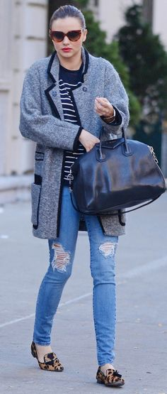 Miranda Kerr in perfectly distressed jeans and leopard flats