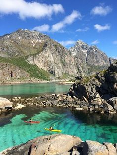 Kayaking in Lofoten Norway among beautiful mountains, white beaches and crystal clear arctic water Lofoten, Places To Travel, Places To See, Beautiful Norway, Norway Travel, Paddle Boarding, Arctic, Trip Planning, Finland