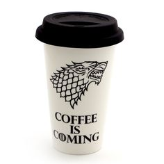 Game of Thrones Coffee travel mug, porcelain double walled eco cup with grey flexible lid, coffee is coming, GOT fan art, gift for him Don't know what to get for Jon Snow? You'll be absolutely Wilding